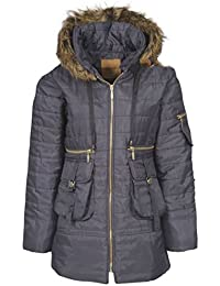 Flirty Wardrobe Womens Ladies Quilted Puffer Puffa Jacket Coat Parka Padded Fur Hood Winter Warm [Khaki, UK M]