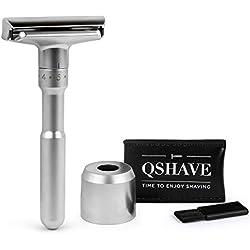 Maquinilla de afeitar clásica de doble filo y calidad ajustable (1 Afeitadora + 1 Soporte de afeitar)