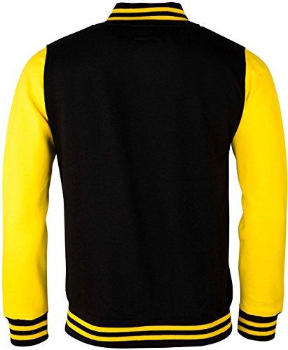 EZYshirt® Wunschbuchstabe Unisex College Jacke für Männer, Frauen & Kinder Herren/Schwarz/Gelb/Gelb