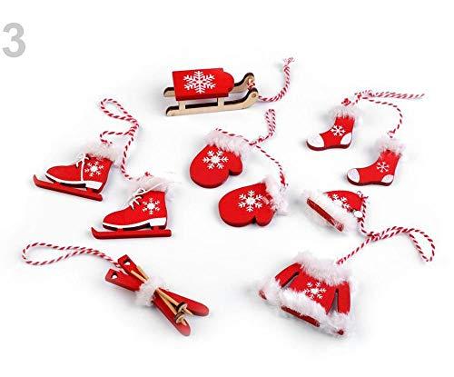 6stück 3 Rot Weihnachtsdeko - Schlitten, Ski, Schlittschuhe, Handschuhe, Mütze, Jacke, Socken, Weihnachtskugeln Und Hängedeko, Weihnachtsdekorationen
