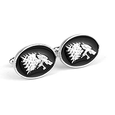 Game Of Thrones Stark Wolf Head OVAL Shape Cufflinks Cuff Buttons Set with Velvet Bag | Ideal Men's Jewellery Jewelry Retro pattern Shirt Cufflinks French Cuff Nails Cuff Links