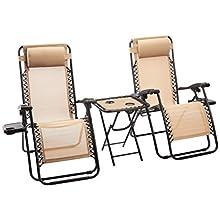 AmazonBasics - Sedie a sdraio Zero Gravity con tavolino, set da 2, marrone chiaro