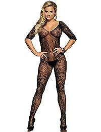 marysgift Femmes Body Complet Ouvert Crotch Résille Bodystocking Noir Net  Sheer Lingerie Body 4873a03eaa9