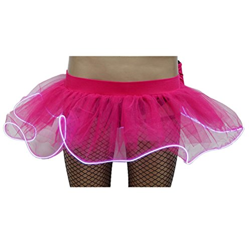 KaloryWee Damen Party LED Mini Blase Rock ohne Batterie Gaze flauschigen Rock (Medium, Pink) (Graue Stretch-cord)