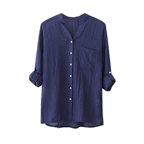 TWIFER Frauen Baumwolle Solid Langarmshirt Beiläufige Lose Bluse Button Down Tops (L,Blau) (Lustige Halloween Kostüme Für Arbeit)