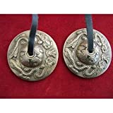 Tibetan Buddhist Hand Chimes 62mm Diameter on Leather Cord Embossed with Tibe.