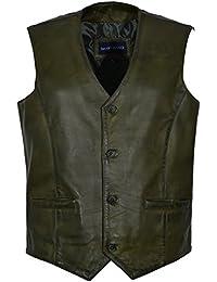 Hombres Nuevo 5226 Moda de fiesta con estilo Verde oliva Diseñador Genuino Clásico Real Chalecos de piel de cordero