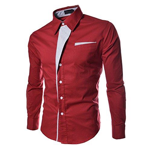Preisvergleich Produktbild HSLManner Baumwoll Mischung Teil Striped Langarm-Shirt-Rot, asiatischen L
