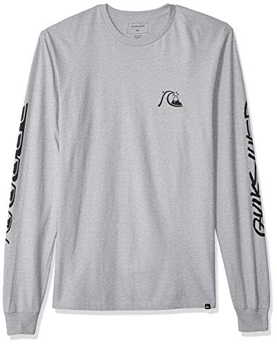 Classic Long Sleeve Logo Tee (Quiksilver Herren Too Many Rules Long Sleeve Tee Hemd, Athletic Heather, Klein)
