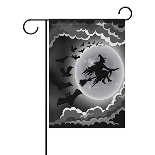 ASKYE Halloween Witch Flying on Broomstick with Bats Double Sided Polyester Garden Flag, Halloween Winter Holiday Decorative Flag for Party Yard Home Decor(Size: 28inch W X 40inch H) (Halloween Garden Flags)