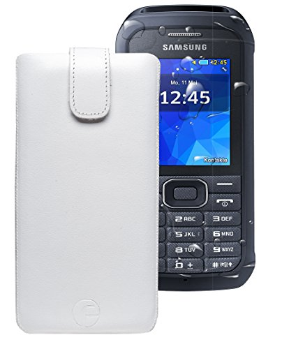 Favory ® Etui Tasche für / Samsung Xcover 550 (SM-B550H) / Leder Handytasche Ledertasche Schutzhülle Case Hülle *Lasche mit Rückzugfunktion* weiss