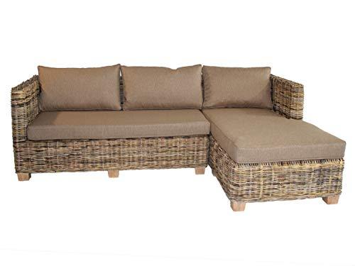 casamia Rattan Sofa Rattan Couch Ecksofa Tiger 225x150 cm mit Ottomane rechts Wohnzimmer Mangrove Varianten Ottomane rechts