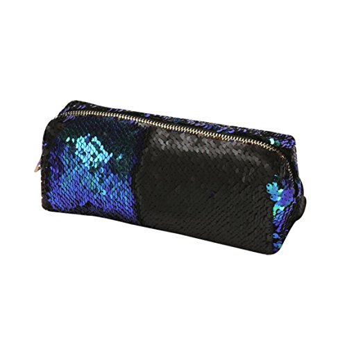 l,Unisex Handtasche Make-up Beutel, Mode Doppel Farbe Pailletten Kosmetiktasche Make-Up Beutel Nylon Vielseitig Mit Reißverschluss Schminktäschchen (Grün) (Kaufen Mädchen)