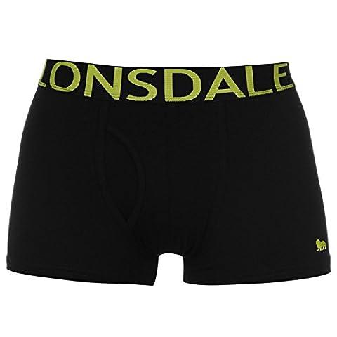 Lot de 2 sexy caleçon boxer homme Lonsdale sous-vêtements Couleur Noir/Jaune (L)