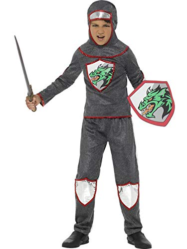 Halloweenia - Jungen Kinder mittelalterliches Ritter Kostüm Deluxe mit Oberteil, Hose, Kopfbedeckung und Schild, perfekt für Karneval, Fasching und Fastnacht, 104-116, Silber (Mittelalterlichen Jungen Ritter Kostüm)