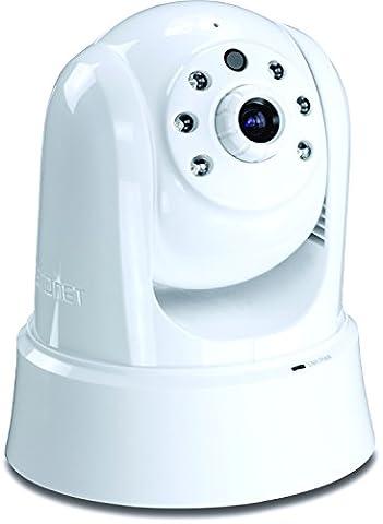 TRENDnet Megapixel 720p HD PoE Tag/Nacht PTZ Netzwerk Kamera, Schwenken und Neigen & Zoom, Nachtsicht bis zu 7.5 Meter, Aufzeichnungen auf Micro SD Karte oder einem NAS, 2-Wege Audio, kostenlose Mobile App, (Mpeg4 Audio)