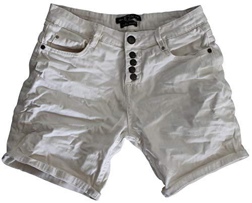 Kurze Skinny Jeans (30 Farben Damen Jeans Bermuda Short by Eight2Nine Boyfriend Look tiefer Schritt Jeansbermuda mit Kontrastnähten Washed Kurze Hose (L, Leinen Withe))