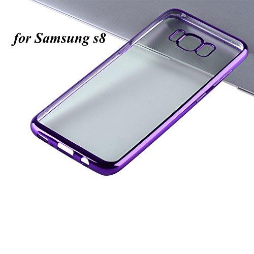 Samsung Galaxy S8 Hülle Samsung Galaxy S8 Schutzhülle, Dimi Samsung S8 Transparent Handyhülle Ultra Dünn Handyhülle Plating Soft Flex TPU Handyhülle für Samsung Galaxy S8 Case Cover, Samsung S8 Case Cover Transparent Lila