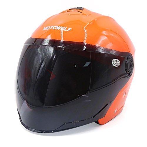 DealMux orange ABS Plastik Motorrad-Sicherheits-Halbhelm w Schwarz Gesichtsschutz Visier