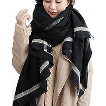 XXL Damen Schal Tuch Halstuch Poncho Wolle Pashmina in Farbe Grau Schwarz Größe 200cm x100cm von DesiDo®