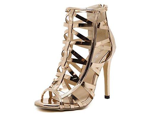 Beauqueen Bar Wedding OL Party Sandals Zipper Stiletto High Heel All-Matched Femme Peep Toe Hollow Casual Fashion Sandals 35-40 Gold