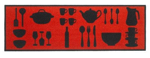 Küchenläufer / Küchenmatte / Dekoläufer für Küche und Bar / Teppich Läufer / waschbare Küchenläufer / Küchendeko Modell COOK & WASH Gerichte Besteck Kochtopf Farbe : Rot Red / Größe ca. 50 x 150 cm / Maschinen waschbar auf 30 grad