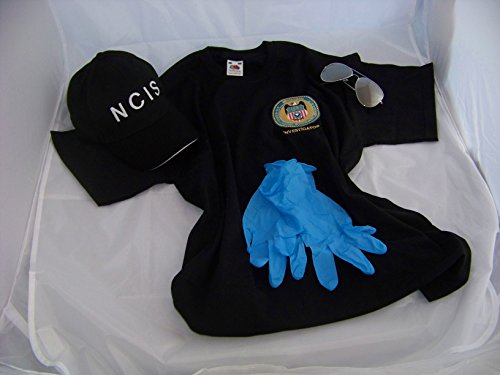 Navy CIS Cap + Logo T-Shirt XL + Brille + Handschuhe , NCIS , Kostüm , Fasching , Verkleidung