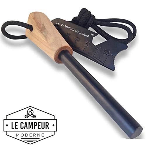 Pierre à feu Allume feu Camping Survie Randonnée LeCampeurModerne Multifonction Silex Outdoor équipement firesteel Bois Edition