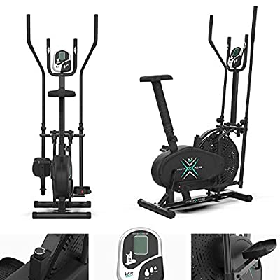 We R Sports Deluxe 2-IN-1 Cross Trainer & Exercise Bike Fitness Cardio Workout With Seat from We R Sports