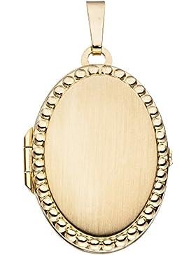 Medaillon Amulett Anhänger zum Öffnen 333 Gold Gelbgold teilmattiert