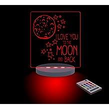 FUNLIGHTS Love You To The Moon and Back Lámpara Bebé LED Multicolor con Mando. Elige el Color, Intensidad, Temporizador, Arco-iris y ¡mucho más!