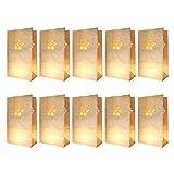 knora 10 x Lichtertüten, Leuchttüten, Kerzentüten; schwer entflammbar; Farbe: weiß; Motiv: Blume aus Kraftpapier für Teelichter und andere Kerzen (27cm x 15m x 9 cm)
