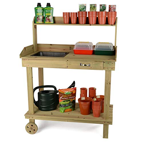 Christow Wooden Potting Table Plant Flower Greenhouse Bench with Wheels