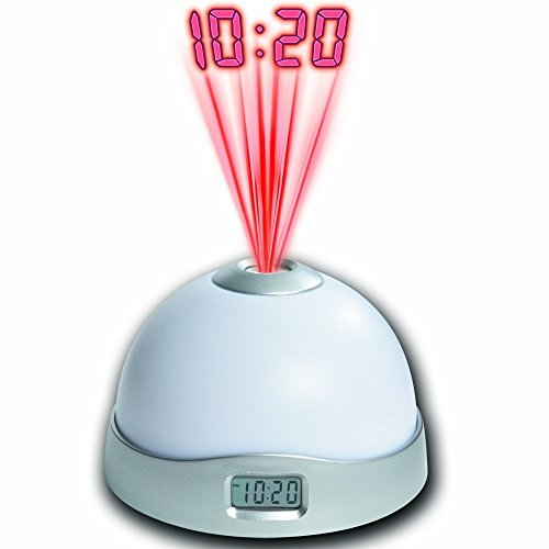 Density Collection Digital Clocks Battery Powered Led 7 Colors Changing Night Light Star Sky Digital Led Projection Projector Alarm Clock for Adults Kids Teens Best Gift (White)