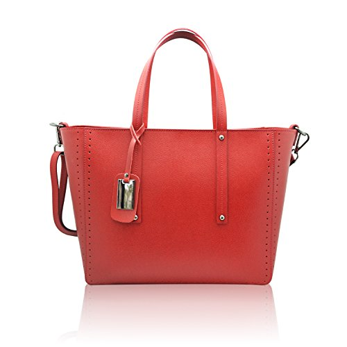 NOEMI Borsa Shopper a spalla in pelle martellata rigida Made in Italy rosso