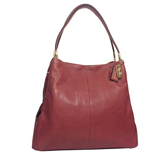 COACH Madison Rouge Pink Leather Small Phoebe Shoulder Handbag; 26224
