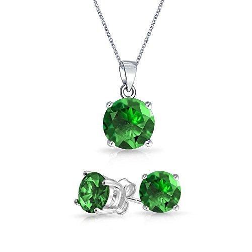 2CT Solitär Runden Grünen Kette Mit Anhänger Ohrstecker Set CZ Rhodium Platte Simuliert Smaragd 925 Sterling Silber 18In