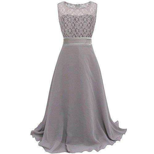 Eagsouni® Mädchen Kleid Chiffon Lange Kleider Brautjungfern Festliches Hochzeit Party Prinzessin Festzug Partykleid Gr. 104-164 (Lange Chiffon-kleid Grau)