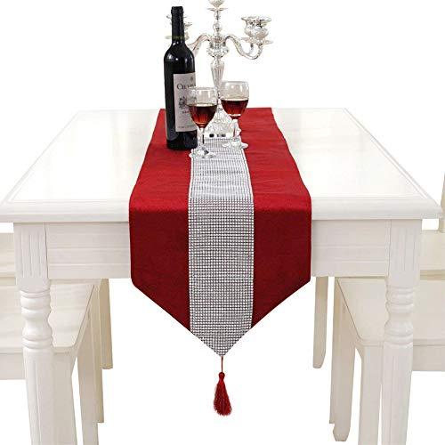 für Hochzeiten, elegant, mit Quasten und Strass-Pailletten, rot, Table Runner Small ()
