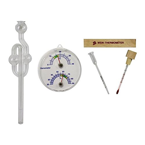 4 tlg . Önometer mit Thermometer und Hygrometer , Weinthermometer im Buchen Holz Etui und Glas Wein Vinometer und Gärspund Glas Set