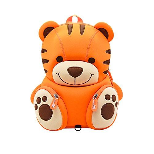 Kinder niedlich orange Tiger Rucksack mit Zügel, wasserdicht Kinder kleiner Kindergarten Rucksack großes Geschenk (Orange Tiger)
