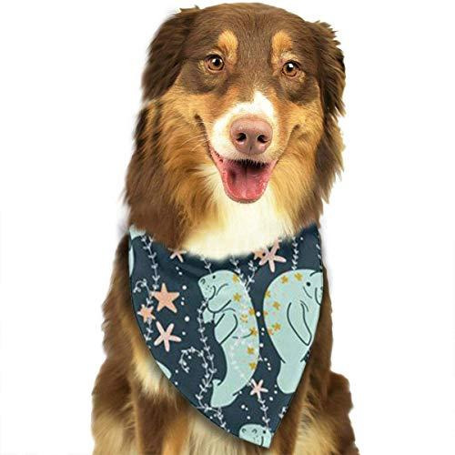 Wfispiy Manatee Pattern Fashion Pet Bandanas Dog Car Neck Scarf for Unisex Pet Boy Girls - Dublin Slip