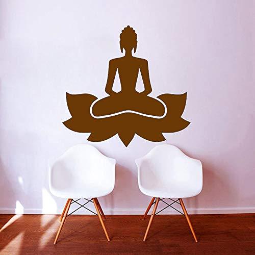 Ajcwhml Yoga Lotus Pose Wandaufkleber Kunst Vinyl Wohnkultur Buddhismus Schwarz Gedruckt Abziehbilder 45 cm x 43 cm