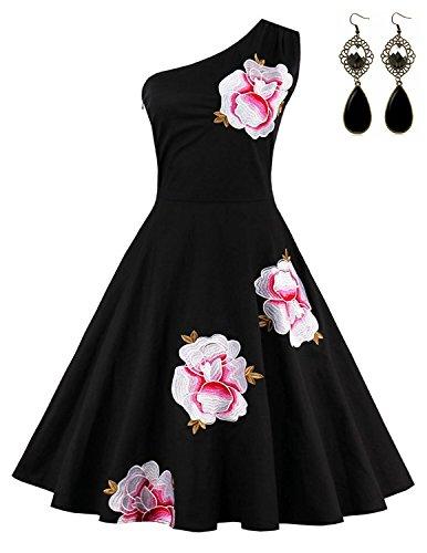Sitengle Damen Abendkleid OneShoulder Retro Stickerei Kleid Cocktailkleid  Sommerkleid Ballkleid Partykleid Schwarz 79cef09fea
