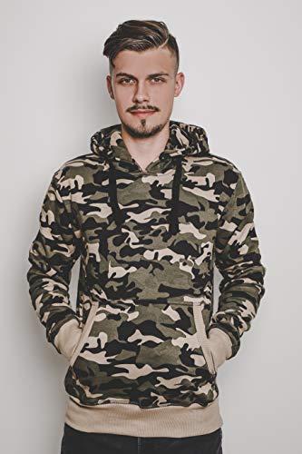 CRONE Carlo Basic Herren Fleece-Hoodie Kapuzenpullover Sweatjacke aus 100% Baumwolle Vegan (M, Light Camouflage) Camouflage Pullover Kapuze