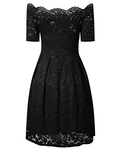 YesFashion Damen Kleid Spitzenkleid Abendkleid Partykleid Knielang A-Linie Kurzarm-Schwarz