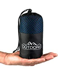 Outdoro 2in1 Hüttenschlafsack - Ultra-Leichter Reise-Schlafsack mit durchgängigem Reißverschluss aus Mikrofaser - in eine Reisedecke verwandelbar - dünn & klein, Inlett, Travel-Sheet