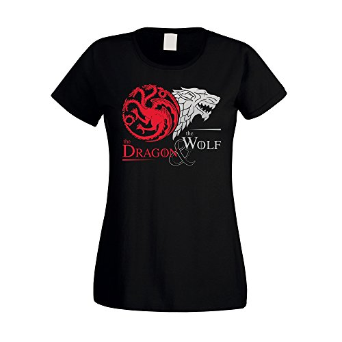 Game of Thrones - The Dragon & the Wolf - Targaryen & Stark - GoT Damen T-Shirt - von SHIRT DEPARTMENT, schwarz-silber, L (Tee Verziert Print)