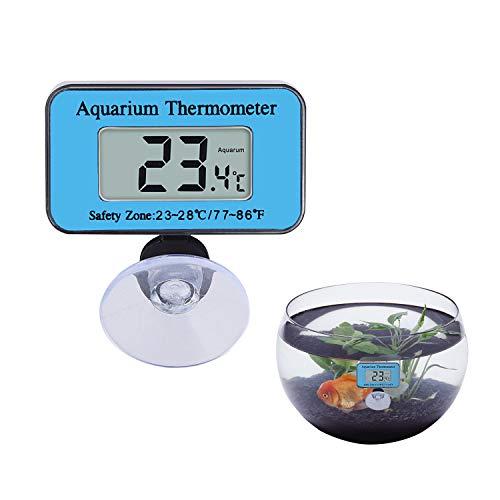 COCOCITY Digital Thermometer mit Saugnapf, Mini Aquarium Thermometer Wasserdicht für Terrarium, Raumklimamessungen