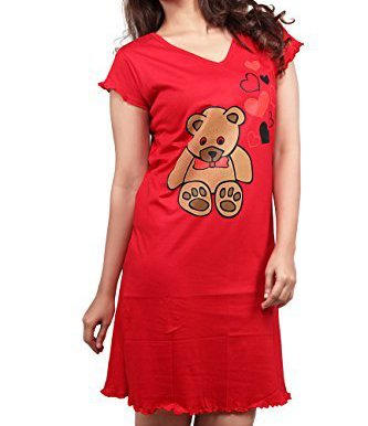 Clifton Womens Long Top Nightwear-Teddy - Red (XXX-Large)